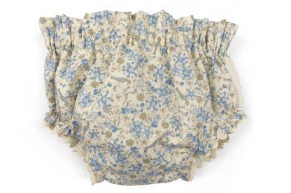 Vista frontal culotte estampado flores y pájaros tonos azules. Modelo Blue Birds.
