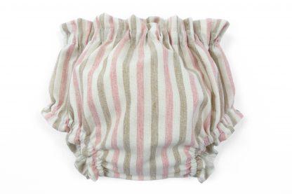 Vista frontal culotte rayas verticales arena y rosa. Modelo Desert.