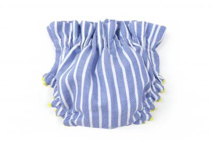 Vista trasera culotte estampado rayas verticales azul. Modelo Nautic.