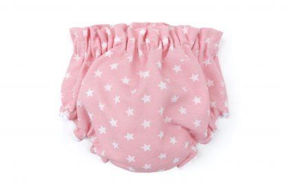 Vista trasera culotte rosa estampado estrellas blancas. Modelo Estrellas.