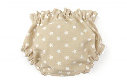 Vista trasera culotte beige con estrellas blancas. Modelo Estrellas.