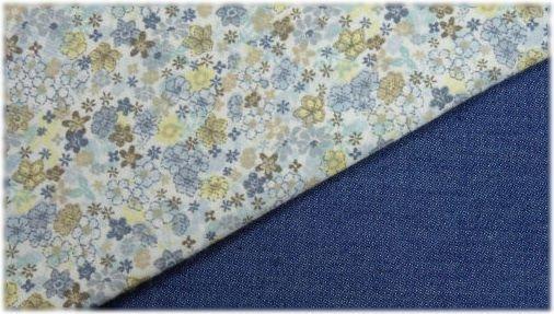 Tela Denim y flores azules