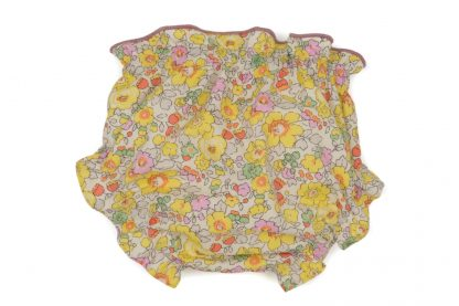 vista trasera culotte liberty estampado flores rosa, amarillo y menta