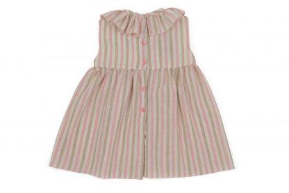 Vista espalda vestido rayas arena y rosa
