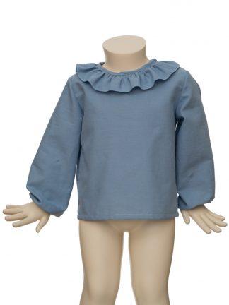 Baby - Camisa orgánico azul con cuello volante
