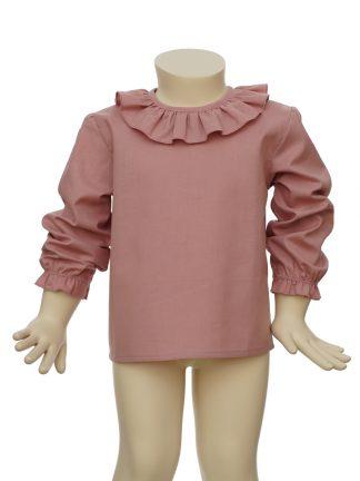 Camisa bebe rosa algodon organico - frontal