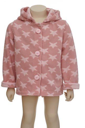 Chaqueta lana estrellas rosa 1 en maniquí 24 meses