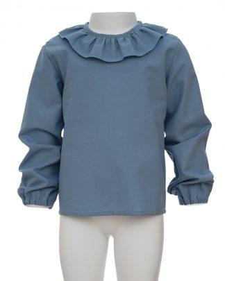 kids-camisa orgánico azul frontal