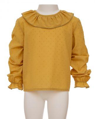 kids-camisa plumeti ocre frontal