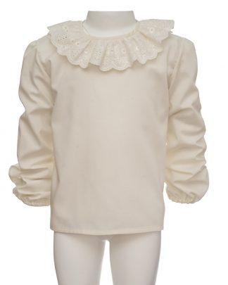 kids-camisa volante bordado frontal