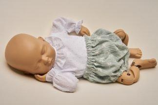 Culotte recién nacido verde menta estrellas